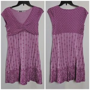 Athleta Purple Embroidered Ruched Front Dress Sz S